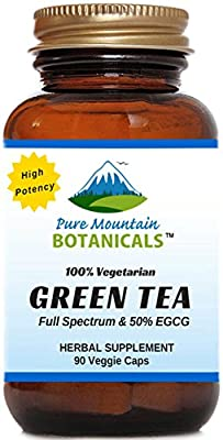 High Potency Green Tea Pills. 90 Kosher Veggie Capsules Now with 450mg Organic Full Spectrum and Pure Green Tea Extract
