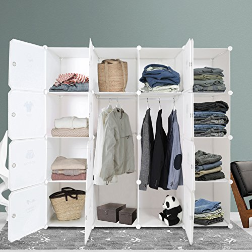 ROKOO Clothes Closet Wardrobe Portable DIY Modular Cube Shelving System Storage Organizer with Hanging Rod and Door Stickers Larger Space Thicker Board Sturdy Construction (16 cube) - Bedroom Metal Armoire