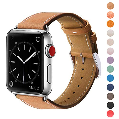 (MARGE PLUS Compatible with Apple Watch Band 42mm 44mm, Genuine Leather Replacement Band Compatible with Apple Watch Series 4 (44mm) Series 3 Series 2 Series 1 (42mm) Sport and Edition,)