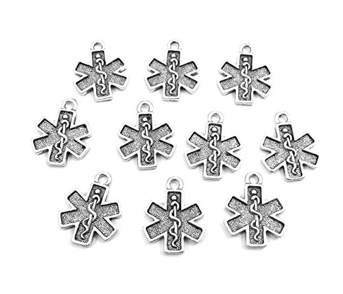 Set of Ten (10) Pewter EMT Cross Charms