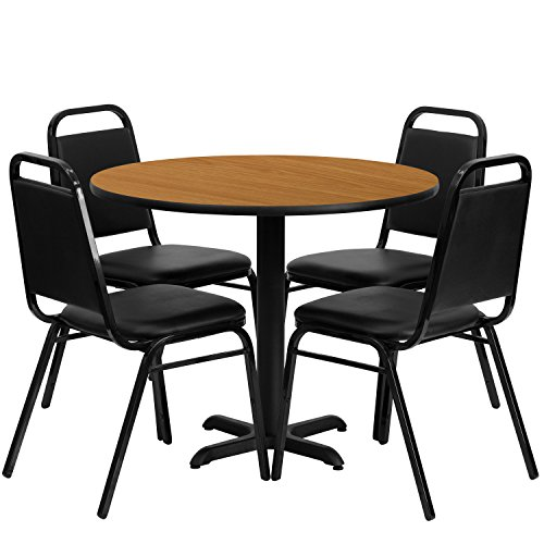 Flash Furniture 36'' Round Natural Laminate Table Set with 4 Black Trapezoidal Back Banquet Chairs by Flash Furniture