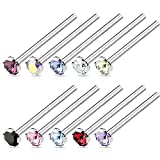 BodyJ4You 10PCS 18G Nose Ring Fishtail Stud Bone CZ Surgical Steel Nostril Body Bar Piercing Jewelry