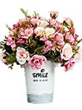CL Artificial Fake Silk Rose Sunflower Gerbera With Iron Pot For Home Kitchen Garden Living Room Hotel Office Party Decorations Or As Festival Birthday Gift (Color 4)