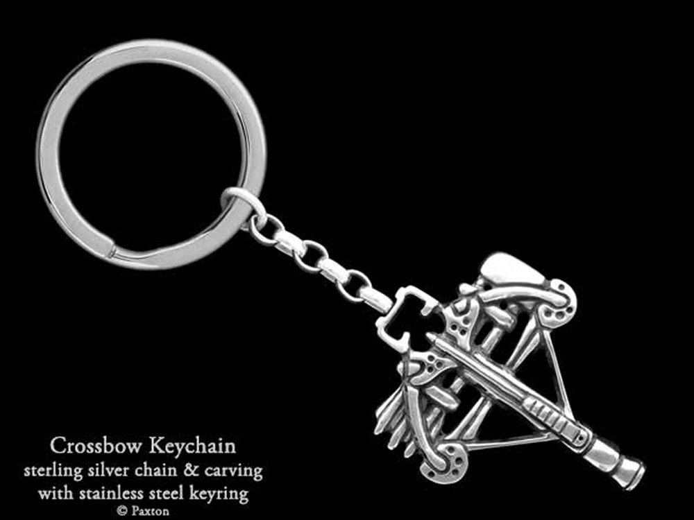 Crossbow Keychain / Keyring Sterling Silver Handmade by Paxton