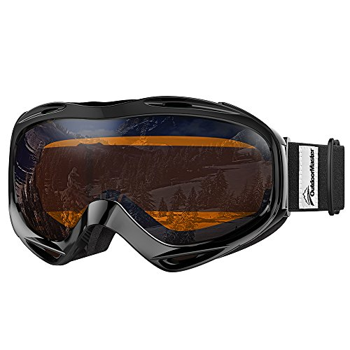 OutdoorMaster OTG Ski Goggles - Over Glasses Ski / Snowboard Goggles for Men, Women & Youth - 100% UV Protection (Black Frame + VLT 24% Orange Lens with REVO - Riding Glasses Best