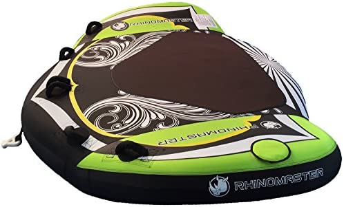 RhinoMaster Tough Seadragon 3-Person Inflatable Towable for Boating, Green Black, 76 x 60