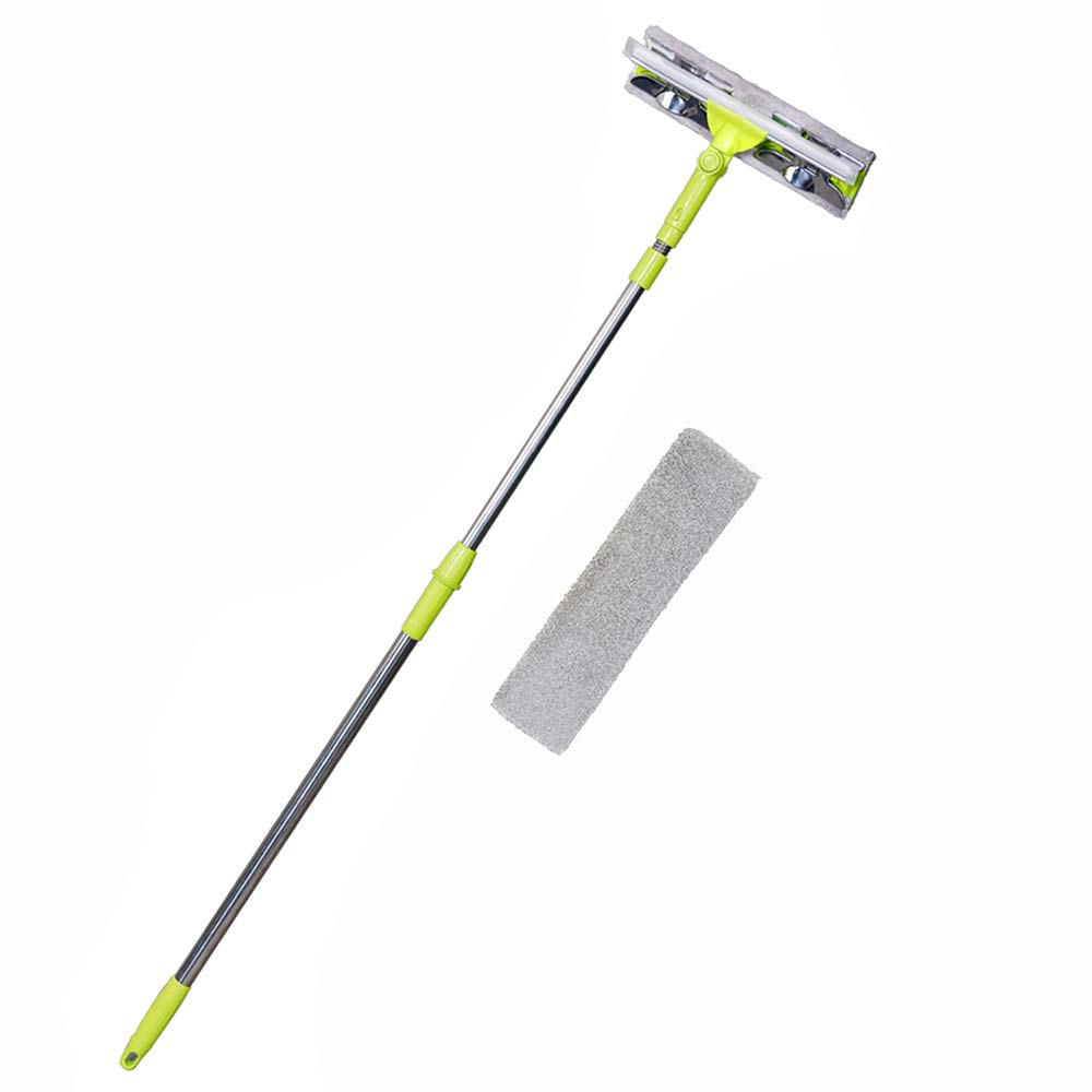 NFHOME Window Squeegee Cleaner With 58 Inch Telescopic Extension Pole, Professional Window Cleaning Tools Kit with Microfiber Scrubber and 1 Extra Cloth for Car Window Bathroom Home Shower Auto