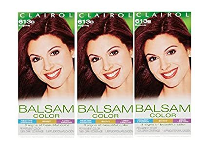 Amazon.com : Clairol Balsam Hair Color 613b Burgundy 1 Kit (Pack of 3) : Chemical Hair Dyes : Beauty