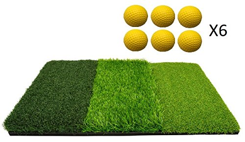 Golf Hitting Mat for Indoor or Outdoor Practice – 6 Foam Practice Golf Balls Included – Multi Surface Golf Mat