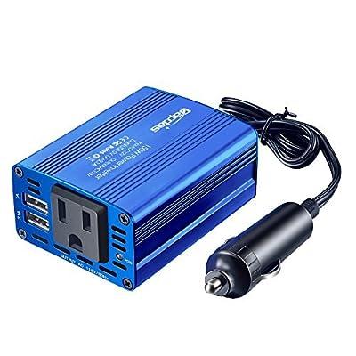 Bapdas 150W Car Power Inverter DC 12V to AC 110V Converter with 3.1A 2 USB Ports