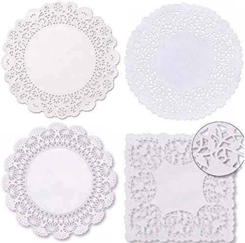 Combo Pack Square and Round 8 inches Paper Lace Doilies - Assortment by The Baker Celebrations - Disposable Table Placemats (40)