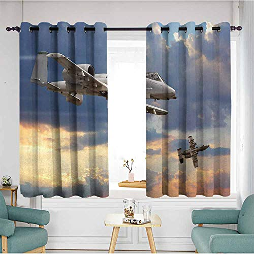 - duommhome Airplane Soft Curtain Peacekeepers Mission Jet Up International Military Force Combat Flight Picture 70%-80% Light Shading, 2 Panels,55