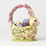 Enesco Jim Shore Heartwood Creek Bunny Basket with Four Eggs Stone Resin, 7.5'' Figurine