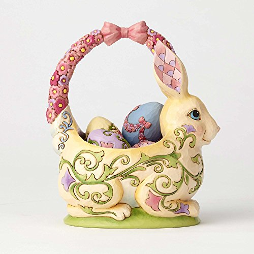 "Enesco Jim Shore Heartwood Creek Bunny Basket with Four Eggs Stone Resin, 7.5"" Figurine"