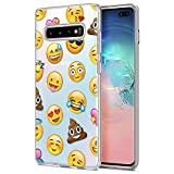 Eouine Samsung Galaxy S10 Plus Case, Phone Case Transparent Clear with Pattern Ultra Slim Shockproof Soft Gel TPU Silicone Back Cover Bumper Skin for Samsung Galaxy S10 Plus (Emoji)