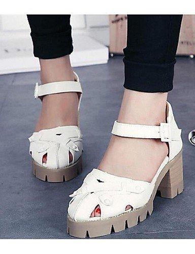 ShangYi Womens Shoes Chunky Heel Open Toe Sandals Casual White/Gray gray