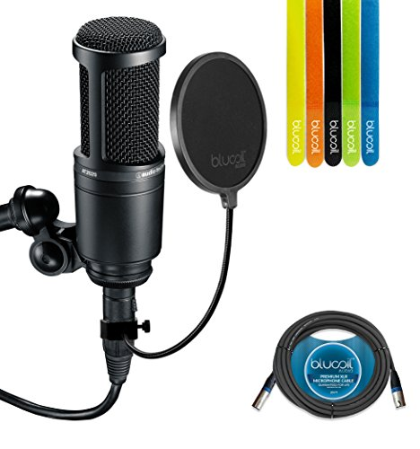 Audio-Technica AT2020 Cardioid Condenser Studio Microphone - INCLUDES - Blucoil Pop Filter, 20 Ft XLR Cable AND 5 Pack Cable - Condenser Audio At2020 Studio Technica