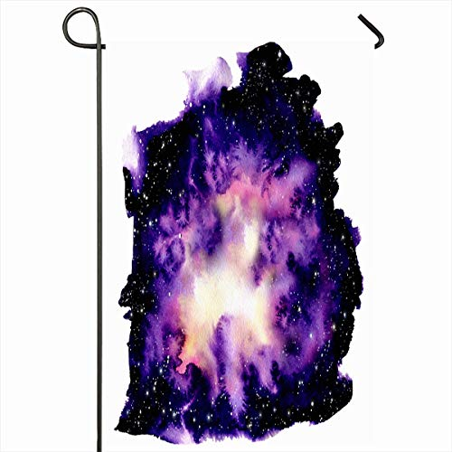 Ahawoso Outdoor Garden Flag 12x18 Inches Galaxy Creation Purple Abstract Watercolor Shine Outer Space Star Cosmos Nebula Yellow Astronomy Blob Seasonal Double Sides Home Decorative House Yard Sign ()