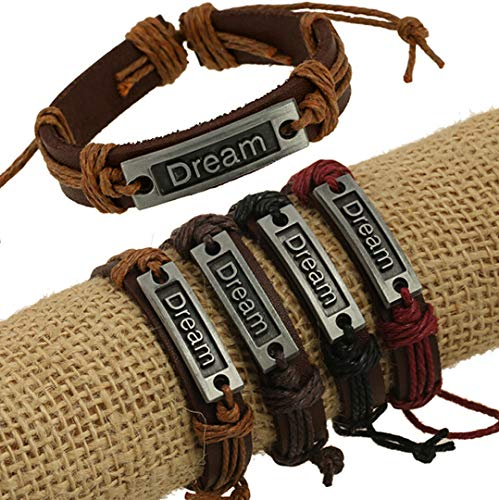 DeemoShop Ship Adjustable Unisex Real Cuff Leather Bracelets Dream Bangles Letter Slide Bracelets ()