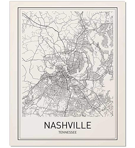 - Nashville Poster, Nashville Map, City Map Posters, Nashville Map Print, State Tennessee, Tennessee Map, Modern Map Art, Black and White, Map Wall Art, Map Art, Scandinavian Poster, 8x10