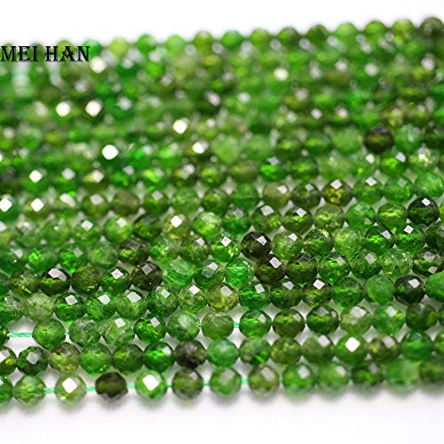 - Calvas Natural Chrome Diopside 3.5mm Faceted Round gem Beads for Jewelry Making Design Fashion Stone DIY Bracelet - (Item Diameter: 3.5mm-1strand)