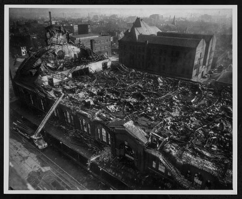 Photo: Remains of Northern Liberty Market after a fire, 1946 . Size: 8x10 (approximately)