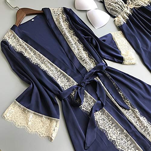 Mujer Pijamas Lencería Set Dormir Blue Invierno Pijama 3 Ropa Albornoz Mujeres Piezas Otoño De Lace Ytnga Efqwpf
