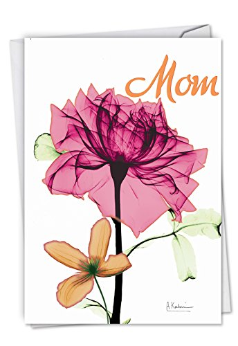 Inspiring Floral Mix - Painted Happy Mothers Day Card with Envelope (4.63 x 6.75 Inch) - Elegant Floral Mother's Day Note Card - Artistic, Loving Stationery Greeting Card for Mothers C6220BMDG