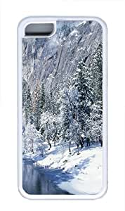 iPhone 5C Case, iPhone 5C Cases - Winter Mountains TPU Silicone Rubber Case Cover for iPhone 5 and iPhone 5C White
