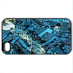 Bern, Switzerland - Case Cover for iPhone 4 and 4s (Houses Series, Watercolor style, Black)