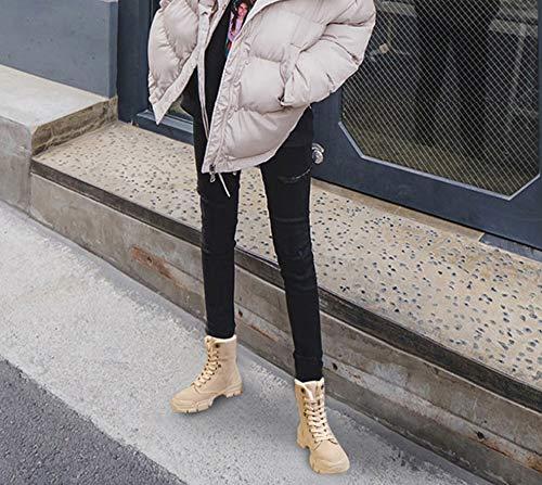 Invernali Equitazione Autunno Trainer outdoor Casual Brown Suola Inverno Velluto Piatto Caviglia Up Scarpe Grip Desert Donne Boots Plus Stivali Pizzo Donna Liangxie Dimensioni TcCHII