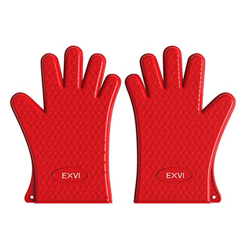 EXVI BBQ Gloves Home Kitchen Tools Heat Resistant Oven Gloves (Red)
