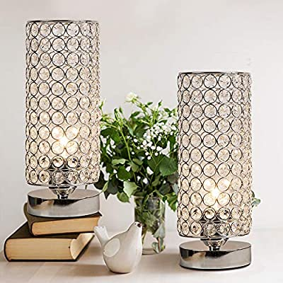 Focondot Crystal Table Lamp, Decorative Nightstand Room Lamps, Bedside Night Light Lamp, Fashionable Small Table Lamp Set of 2 for Bedroom, Living Room, Dresser, Dining Room (2PACK) - ❋Lamp Dimension: The shade is with about 4.3 inches diameter and 11.2 inches height. And the whole table lamp is about 12.5 inches high with 4 inches diameter antislip pedestal for a perfect decorative looking in your room. ❋Stylish Design & Elegant Look: Metal Silver lamp shade(Welded by workers) with 176 pieces K9 crystals(Wired by workers) which we sincerely appreciate hanging on the lamp could add a touch of elegance and create romantic feelings to your room. ❋Easy Usage: The distance between the ON/OFF switch and the lamp base is about 21.5 inch which makes it's convenient to use. Lamp bulb base: E26(Bulb Not Included), you can choose a warm white, cool white or smart color changing bulb yourself depending on the lighting effects you want. - lamps, bedroom-decor, bedroom - 510%2BBkfIjuL. SS400  -