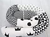 Handmade White and Black Cotton Fabrics Baby Crib Bumper Long Snake Pillow, Nursery Bedding Decor, Nordic pillow