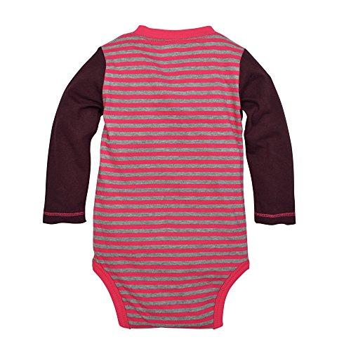 Burt's Bees Baby Baby Girls' Long Sleeve Organic Bodysuit, Magenta Maple Stripe, 24 Months