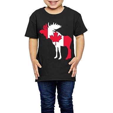 XYMYFC-E Canada Flag Moose 2-6 Years Old Children Short Sleeve Tshirts