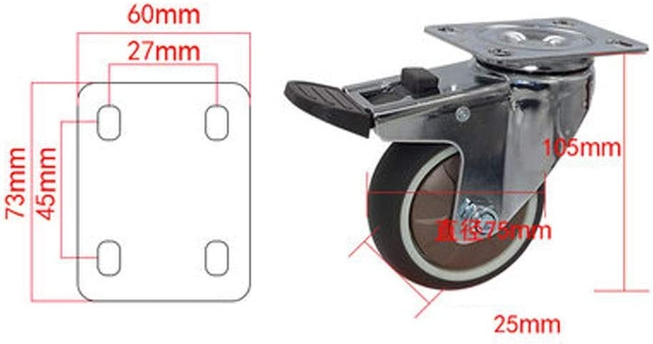 1 Inch 2.5 Inch 3 Inch Caster X1 Mini Universal Wheel Wheel With Brake TPR Soft Caster Directional Wheel Silent Wear 1.5 Inch 1.25 Inch 2 Inch Color : B, Size : 2.5 inch ZHANGKANG