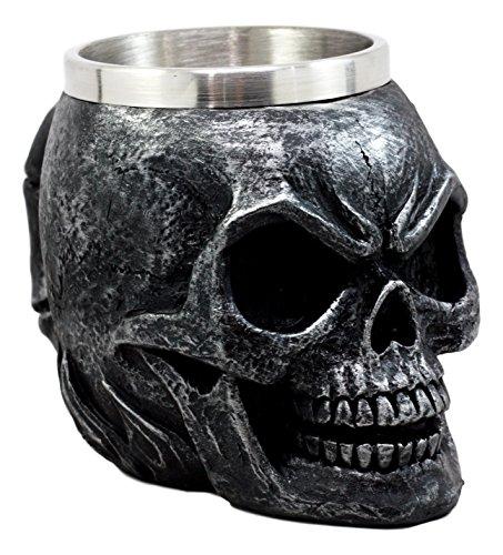 Ebros Gift Dark Silver Ossuary Doomsday Immortal Skull Coffee Mug Day Of The Dead Skeleton Head Demon Beer Stein Tankard Drink Cup 14oz