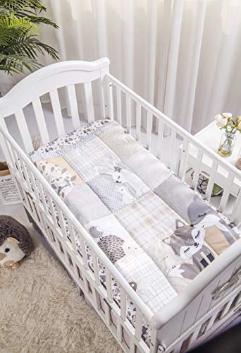 Deer Hoglet /& Bunnies 3 Piece Standard Size Crib Set Gray//Hazel Fox La Premura Woodland Forest Baby Nursery Crib Bedding Set