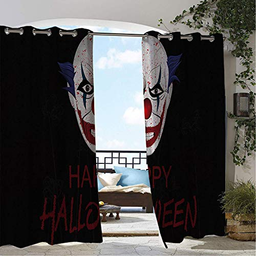 Linhomedecor Outdoor Waterproof Curtain Halloween Style Scary Clown Porch Grommet Patterned Curtain 108 by 108 inch