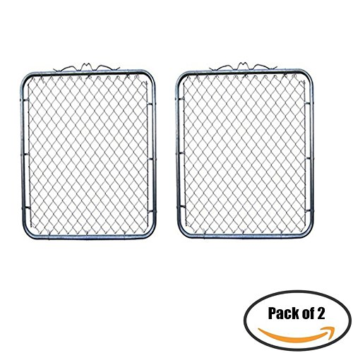 MTB Galvanized Chain Link Garden Walking Fence Gate 48-inch Overall Height by 32-inch Frame Width (Fit a 36-inch Opening), 2 Pack ()