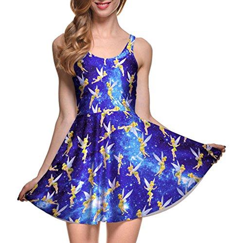 Lady Queen Women's Tinker Bell Sleeveless Scoop Tank Fit High Waist Mini Dress M -