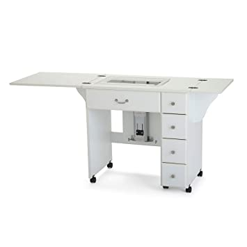 Sewing Table On Wheels.Arrow 901 Auntie Sewing Cutting Quilting And Crafting Portable Sewing Table With Wheels And Airlift White Finish
