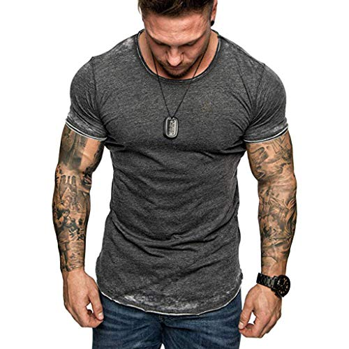 SFE Fashion Shirts,Men's Summer Slim Casual Zipper Fit Patchwork Short Sleeve Top Blouse Dark Gray