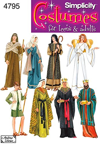 Adult Halloween Costume Patterns (Simplicity 4795 Historical and Biblical Costume for Adults and Teens by Andrea Schewe, Sizes A)