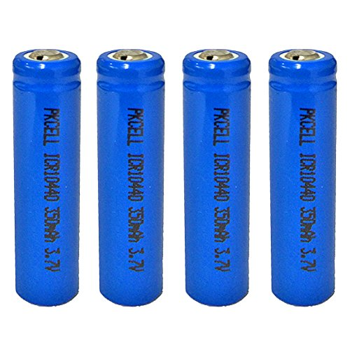 Price comparison product image 3.7V 350MAH AAA ICR 10440 Lithium Ion Rechargeable Battery 4 Pack Button Top