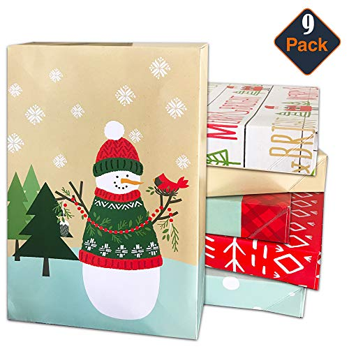 Hallmark Christmas Gift Box Assortment, Patterned Holiday Boxes with Lids for Wrapping Gifts (Pack of 9, Assorted Sizes)