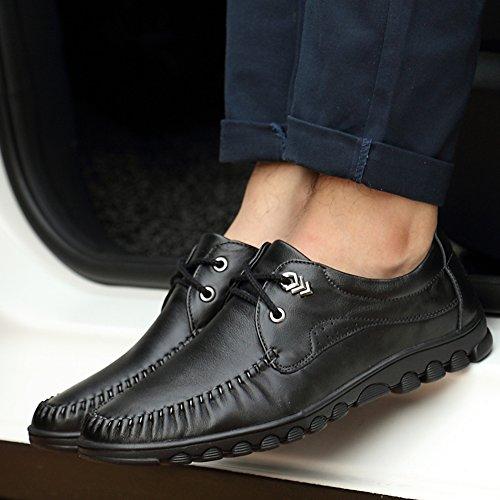 Uomo Piatte SK On Eleganti Guida da Studio Pizzo Scarpe di Traspirante Loafers Pelle Slip Nero Nero Casuale Mocassini da Barca Scarpe OIxxqrY