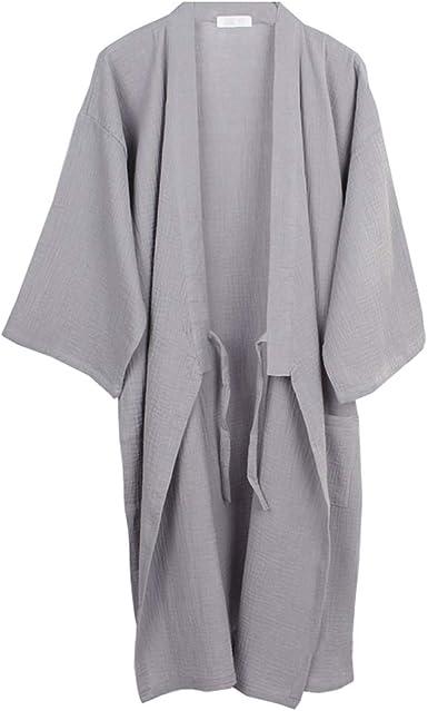 Camisón de Pijama de Kimono de algodón para Hombre japonés con Bata [Gris, Talla XL]