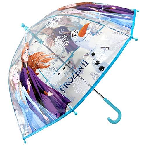 🥇 Paraguas Frozen 2 Ana y Elsa Paraguas Transparente Cúpula Infantil Paraguas Fibra de Vidrio Resistente Antiviento Paraguas Niña Niño 64cm